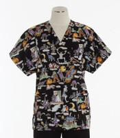 Scrub Med Womens Print V-Poc Scrub Top The Goodies - Original Price $33 - ALL SALES FINAL!