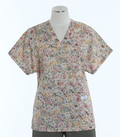 Scrub Med v-poc discount print scrub top english garden