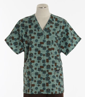 Scrub Med v-poc discount print scrub top so seventies