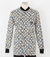 Scrub Med womens crew neck print lab jacket flower power