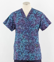 Scrub Med womens v-poc print scrub top huckleberry