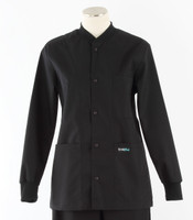 Scrub Med solid black crew neck lab jacket