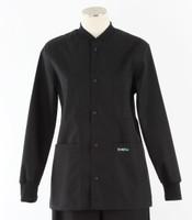 Scrub Med solid black crew neck lab jacket