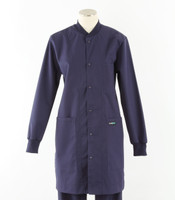 scrub med womens navy crew neck lab coat