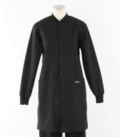 scrub med womens black crew neck lab coat