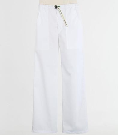 Scrub Med Mens discount Belted zipper white scrub pants