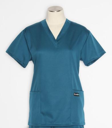 Scrub Med womens v-poc solid stretch scrub top caribbean