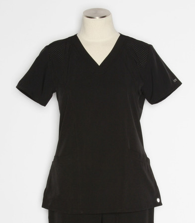 barco one womens racer scrub top black - style 5105