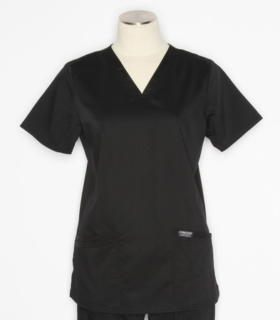 Cherokee Workwear Revolution Womens V-Neck Scrub Top Black - style WW620
