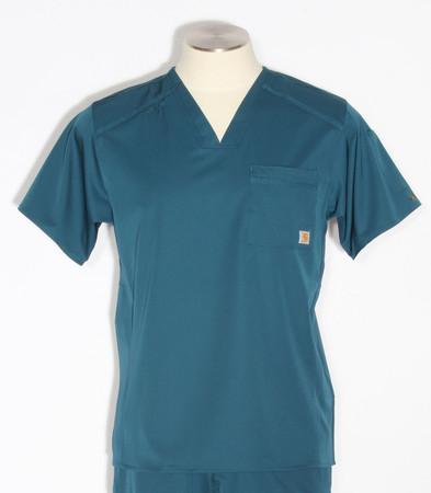 mens carhartt slim fit v-neck scrub top caribbean C15106