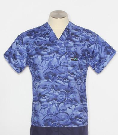 Scrub Med Mens Print Scrub Top Sharks