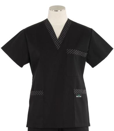 Scrub Med womens v-poc scrub top black with stripe