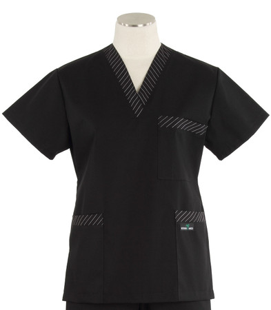 Scrub Med womens v-poc scrub top black with stripe