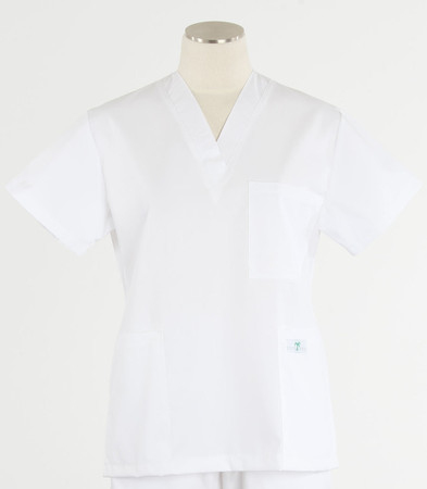 Scrub Med womens v-poc scrub top white