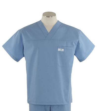 scrub med mens v-neck scrub top celestial blue