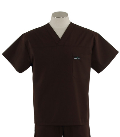 scrub med mens v-neck scrub top dark chocolate