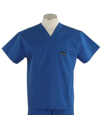 Scrub Med mens v-neck skipper blue scrub top