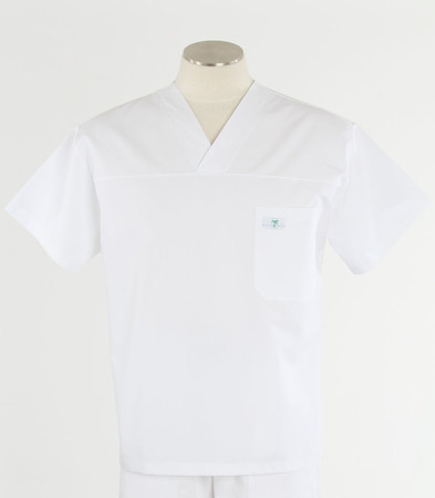 Scrub Med mens v-neck white scrub top