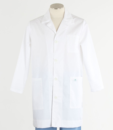 Scrub Med lapel lab coat white