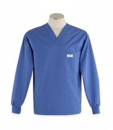 Scrub Med Mens long sleeve Bimini blue scrub top