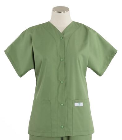 scrub med womens baseball scrub top bay leaf