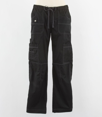 Dickies Gen Flex Womens Black Petite Cargo Scrub Pants