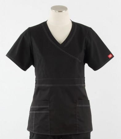 Dickies Gen Flex Womens Mock Wrap Scrub Top Black