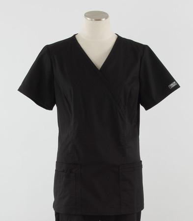 Cherokee Workwear Womens Mock Wrap Scrub Top Black