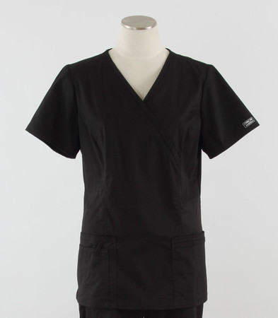 Cherokee Workwear Womens Mock Wrap Scrub Top Black