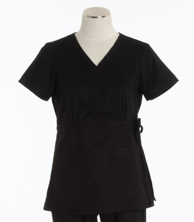 Koi Womens Black Scrub Top Katelyn Cut