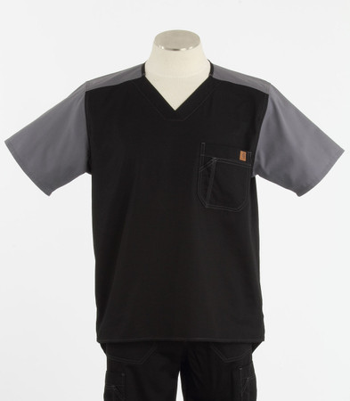 Carhartt Mens Scrub Top with Color Block Black/Pewter