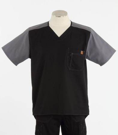 Carhartt Mens Color Block Scrub Top C14108 - Black/Pewter