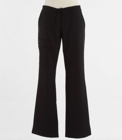 Jockey Womens Black Petite Scrub Pants with Half Elastic, Half Drawstring