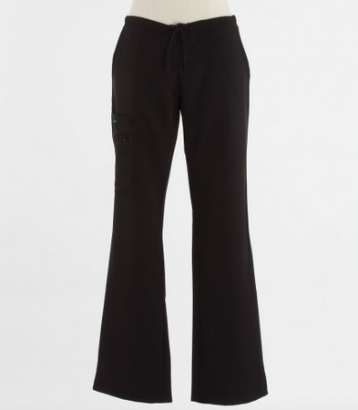 Jockey Womens Black Tall Scrub Pants with Half Elastic, Half Drawstring