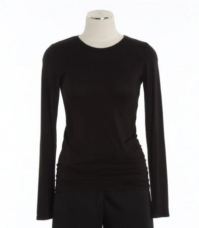WonderWink Womens Black Silky Long Sleeve Tee
