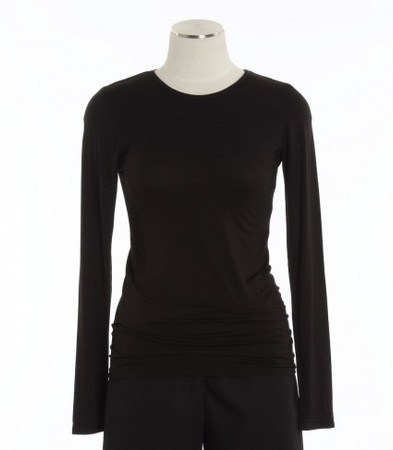WonderWink Womens Black Silky Long Sleeve Tee