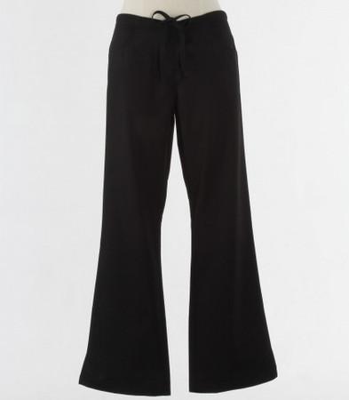 maevn Womens Black Fit Drawstring w/ Back Elastic Flare Leg Scrub Pant