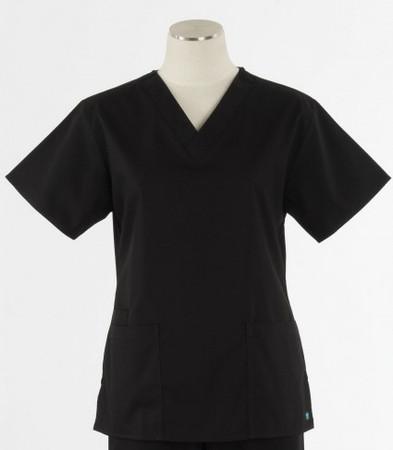 Maevn Womens Black Fit 2 Pocket V Neck Scrub Top
