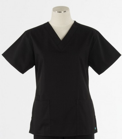 Maevn Womens Black Fit 2 Pocket V Neck Scrub Top