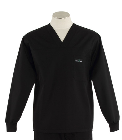 Scrub med long sleeve black scrub top
