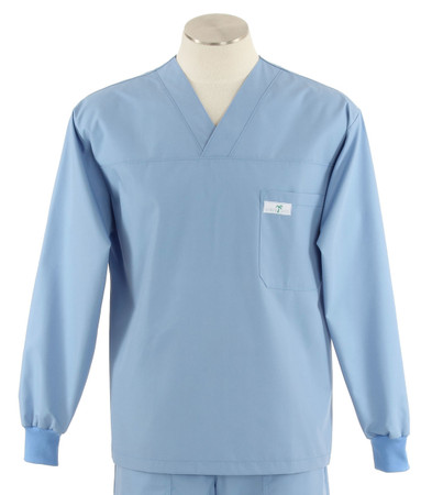 Scrub med long sleeve celestial blue scrub top