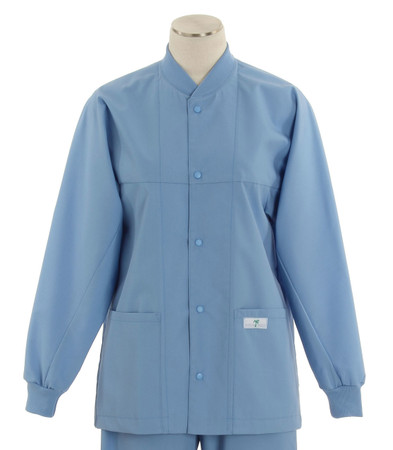 scrub med ROM celestial blue lab jacket