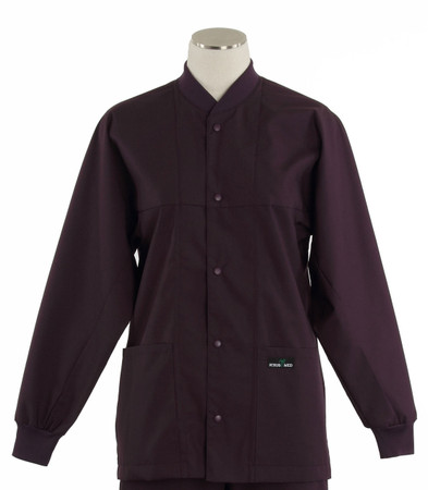 Scrub Med ROM eggplant lab jacket