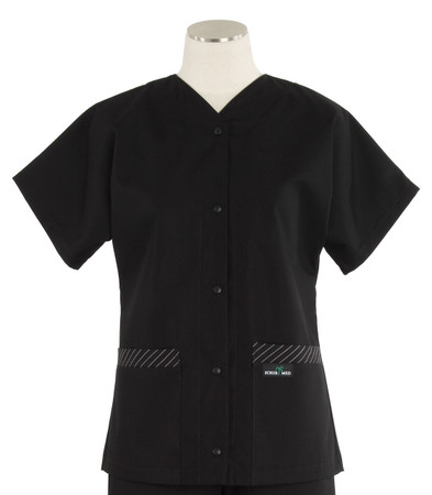 Scrub Med womens baseball scrub top black w/ stripe