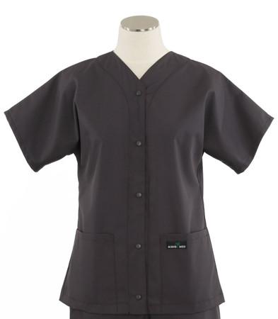 Scrub Med womens baseball scrub top charcoal