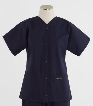 Scrub Med womens baseball scrub top navy