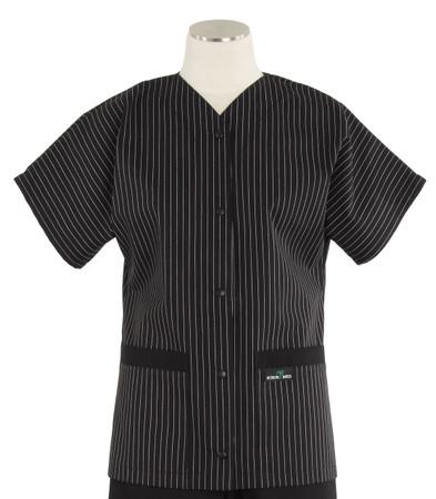 Scrub Med womens baseball scrub top stripe with black