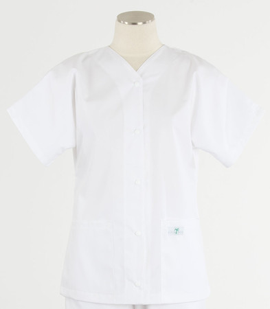 Scrub Med womens baseball scrub top white