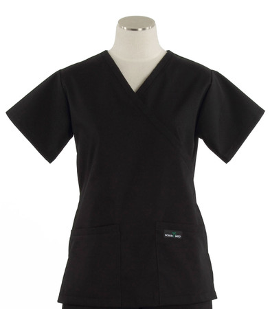 Scrub Med womens demi wrap scrub top black