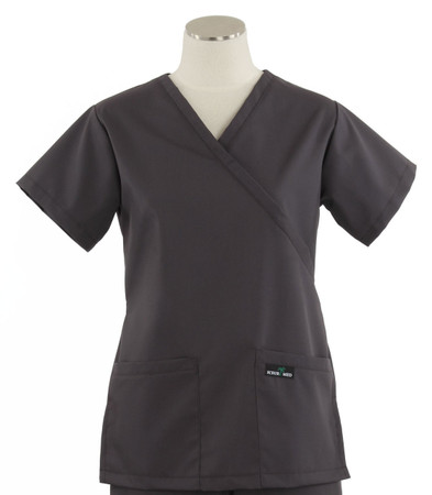 Scrub Med womens demi wrap scrub top charcoal